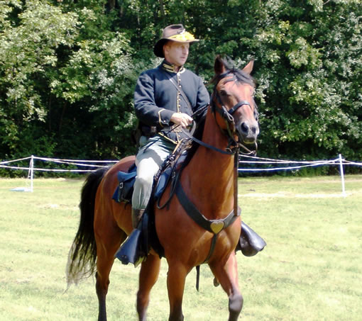 Tim Short, portraying a Union Calvary Officer from the 1st Vermont Calvary